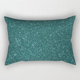 Deep Aqua BlueTurquoise Glitter Rectangular Pillow