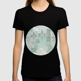 teal baroque vintage patchtwork T-shirt