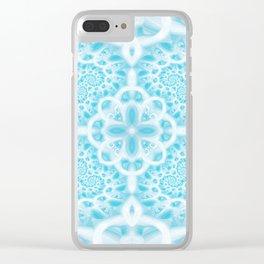 Blue Square Mandala Clear iPhone Case