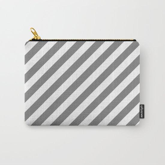 Diagonal Stripes (Gray/White) Carry-All Pouch