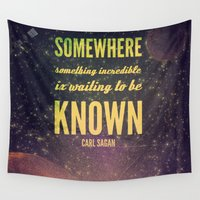 carl sagan Wall Tapestries featuring Space Exploration (Carl Sagan Quote) by taudalpoiart
