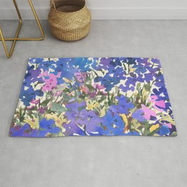 Blue Periwinkle Wildflowers Rug