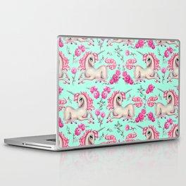 Unicorns and Roses on Mint Laptop & iPad Skin