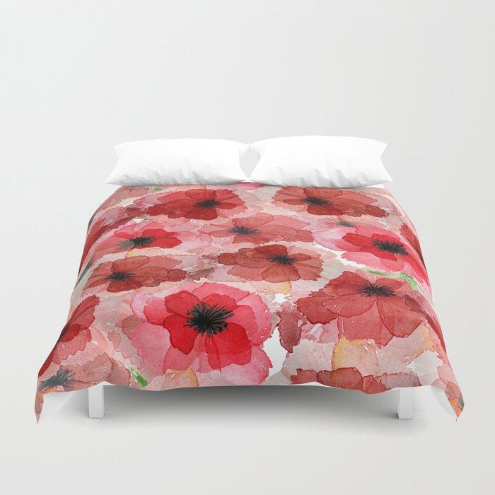 Pressed Poppy Blossom Pattern Duvet Cover