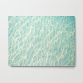 Transparent Clear Water Pattern With Sand Underneath Light Shimmering On Water Metal Print