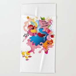 Videogame Party Pacman Ghosts and Fruits Beach Towel