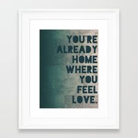home sweet home Framed Art Prints featuring Home by Leah Flores