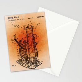 Bong Patent Blueprint Drawings Sepia Stationery Cards