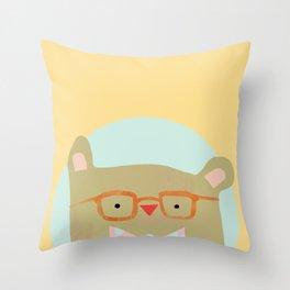 Bear in Specs Throw Pillow