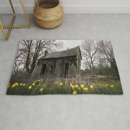 Lean Forward - Old Shack and Daffodils on Spring Day in Arkansas Rug