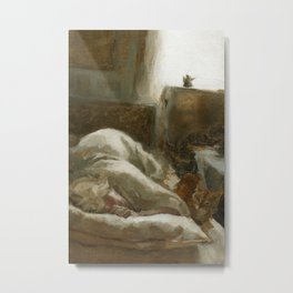 Morning Visitor Oil Painting Interior Sleeping Woman with Cat Metal Print