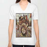 truck V-neck T-shirts featuring mud truck by Vector Art