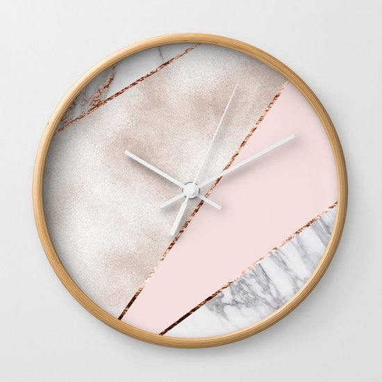Spliced Mixed Rose Gold Marble Wall Clock By Marbleco