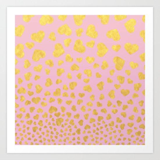 Golden hearts falling from heaven- Gold glitter heart on pink Art Print