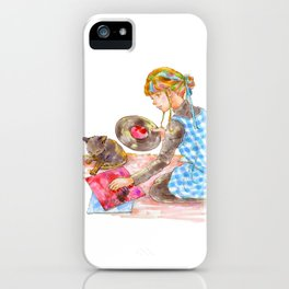 A girl with a kitten vol.2 iPhone Case
