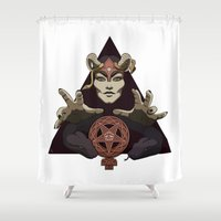 feminism Shower Curtains featuring EVIL FEMINIST CULT OF FEMINISM AND EVIL by Annan Åkerman