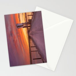 Holy Island of Lindisfarne, England causeway and refuge hut, sunset Stationery Cards