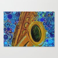 saxophone Canvas Prints featuring Saxophone  by gretzky
