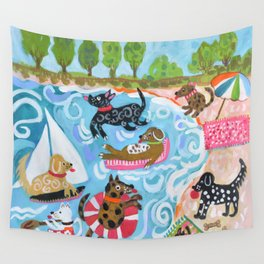 Dogs at Play Wall Tapestry
