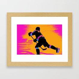 He Shoots! - Hockey Player Framed Art Print