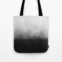 Minimalist Modern Black And white photography Landscape Misty Black Pine Forest Watercolor Effect Sp Tote Bag