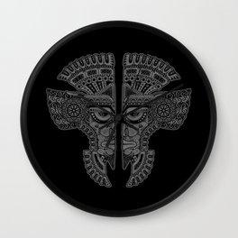 Gray and Black Aztec Twins Mask Illusion Wall Clock