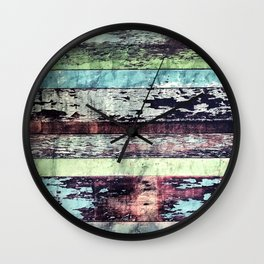 Reclaimed Colorful Vintage Wooden Boards Wall Clock