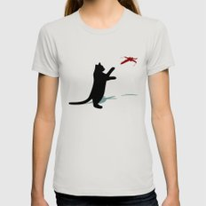 Cat and X-Wing LARGE Silver Womens Fitted Tee