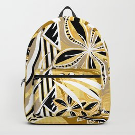 Polynesian - Hawaiin - Samoan Ochre Floral Tribal Backpack