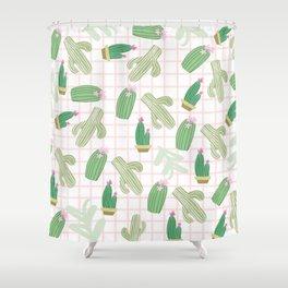 Pastel pink florest green geometrical cactus floral Shower Curtain
