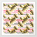 Tropical gold cheese leaves pastel color stripes by pink_water