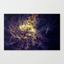Flower Of Liberty - Golden Blue Flower Canvas Print