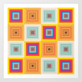 Imperfect Geometry Abstract Art Square  Art Print