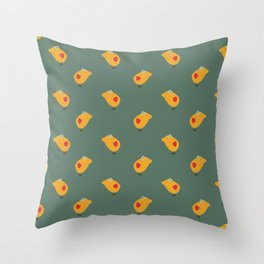 Sunny Family girl hand drawn home decor and textile design kids pattern on olive Throw Pillow