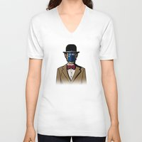 magritte V-neck T-shirts featuring Doctor Magritte by le.duc