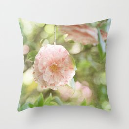 Pink and Green Camillia Throw Pillow