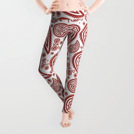 Paisley (Maroon & White Pattern) Leggings