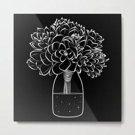 Succulents on a cosmic bottle black  Metal Print