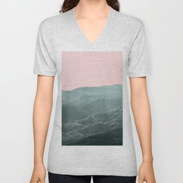 Mountains Pink + Green - Nature Photography Unisex V-Neck