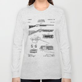 Automatic Rifle Patent - Browning Rifle Art - Black And White Long Sleeve T-shirt