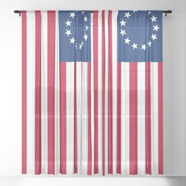 Betsy Ross Old Glory American USA Flag Sheer Curtain