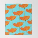 Poppies On A Turquoise Background #decor #society6 #buyart by pivivikstrm