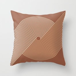 Geometric Lines in Terracotta and Beige 4 Throw Pillow