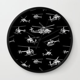 Helicopters on Black Wall Clock