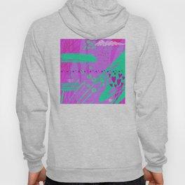 Mixed Media Abstract Art: Vibrant Pink & Green Hoody
