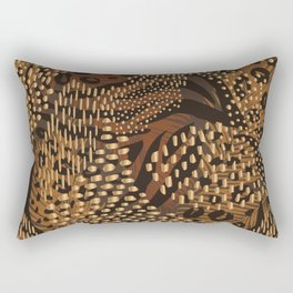 Abstract Tribal Floral Gold Rectangular Pillow