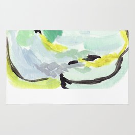 Twirl Green: Abstract Painting Rug