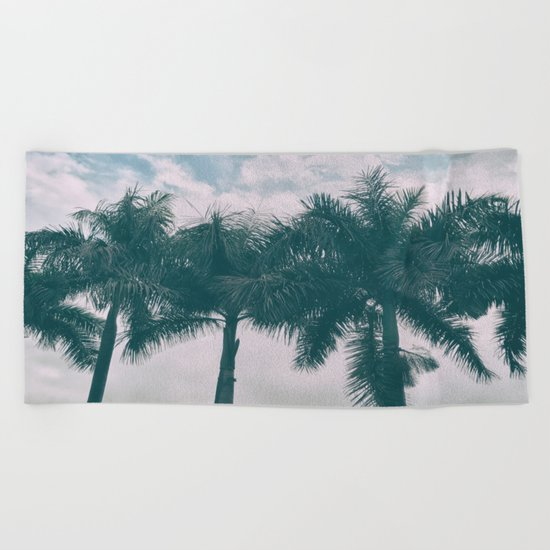 Palm Trees in tropical climate Beach Towel