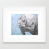 manatee Framed Art Prints featuring Manatee by Caesarie