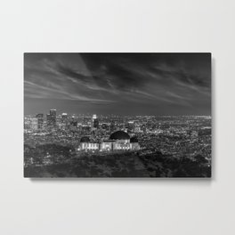 Griffith Observatory, Down Los Angeles skyline street view black and white photograph / black and white photography  Metal Print